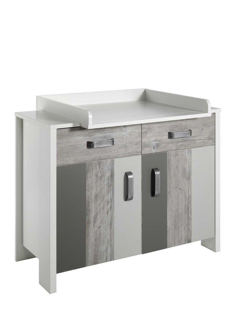 commode à langer Chambre Woody Grey : lit kit-transfo commode armoire 3 portes Schardt BamBinou