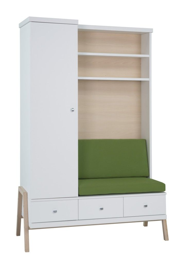 Armoire avec plan a langer integree transforme en banc HOLLY NATURE Schardt BamBinou