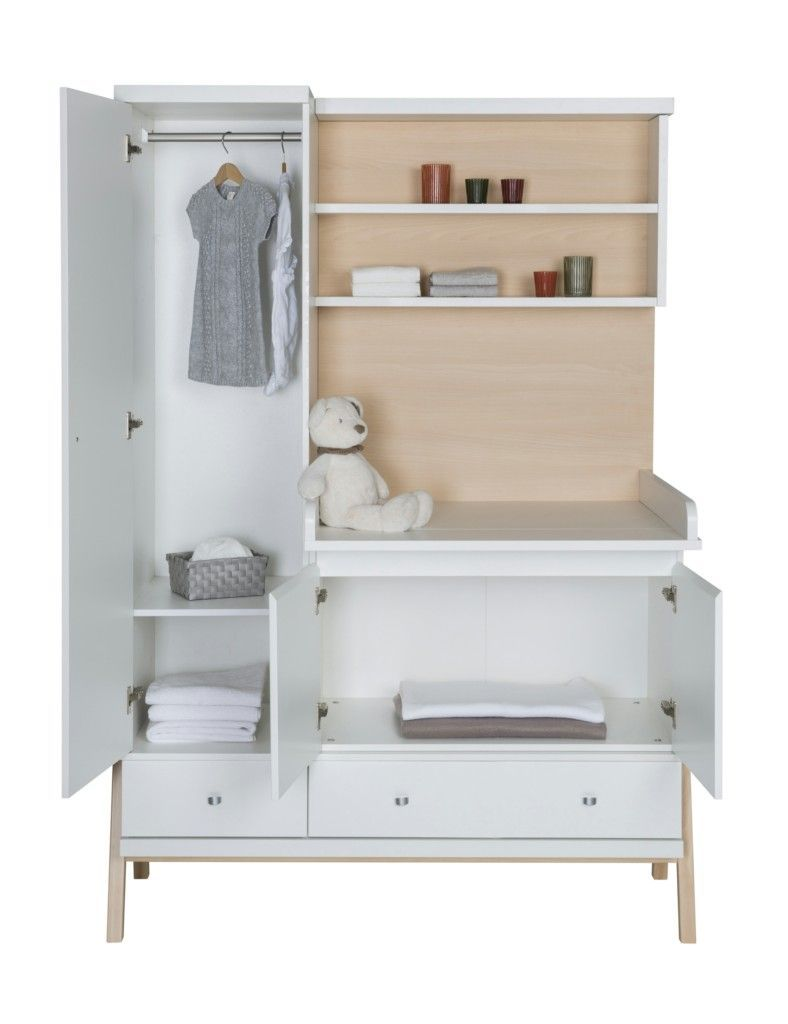 Armoire avec plan a langer integree HOLLY NATURE Schardt BamBinou