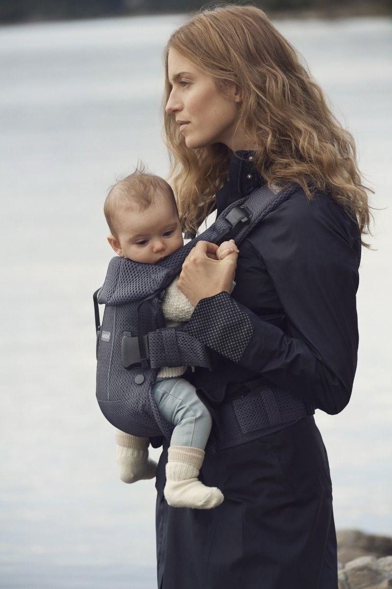 Porte-bébé One air anthracite mesh modèle 2018 portage sur le ventre face porteur Babybjorn Bambinou