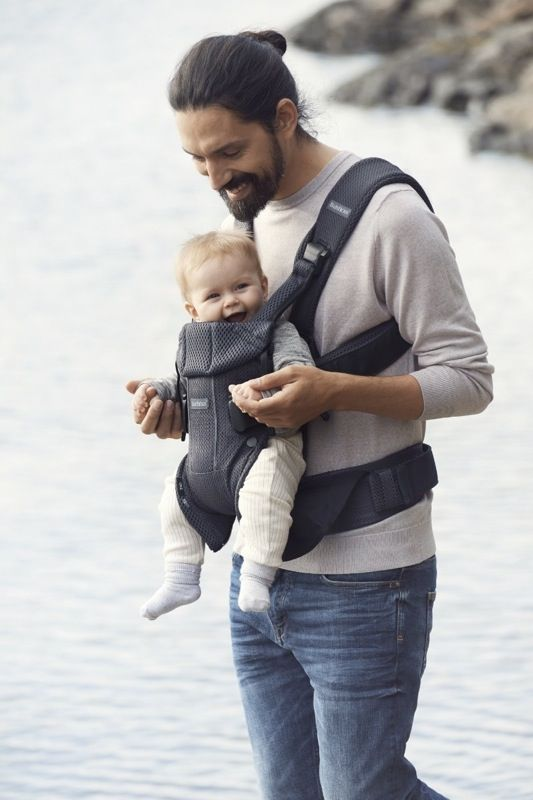 Porte-bébé One air anthracite mesh modèle 2018 portage devant face au monde Babybjorn Bambinou