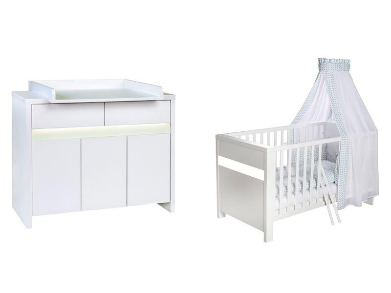 chambre bebe commode lit kit Planete Blanc Schardt BamBinou
