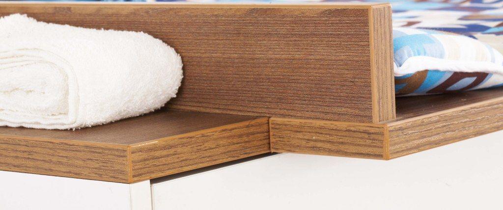 Chambre bébé Tuula blanc noyer : Lit, commode, armoire Pinolino Bambinou.c
