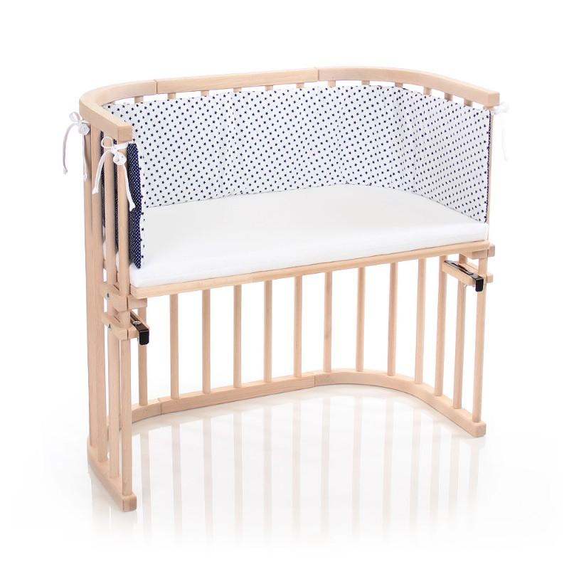 Tour de lit coton organique pour berceaux Cododo Babybay face blanche étoiles bleues