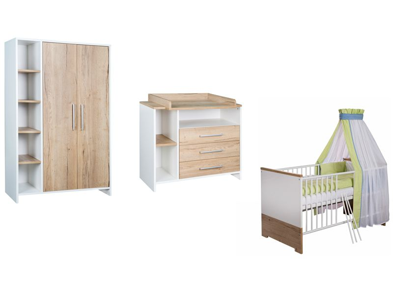 Chambre Eco Plus : lit kit-transfo commode armoire 2 portes Schardt BamBinou