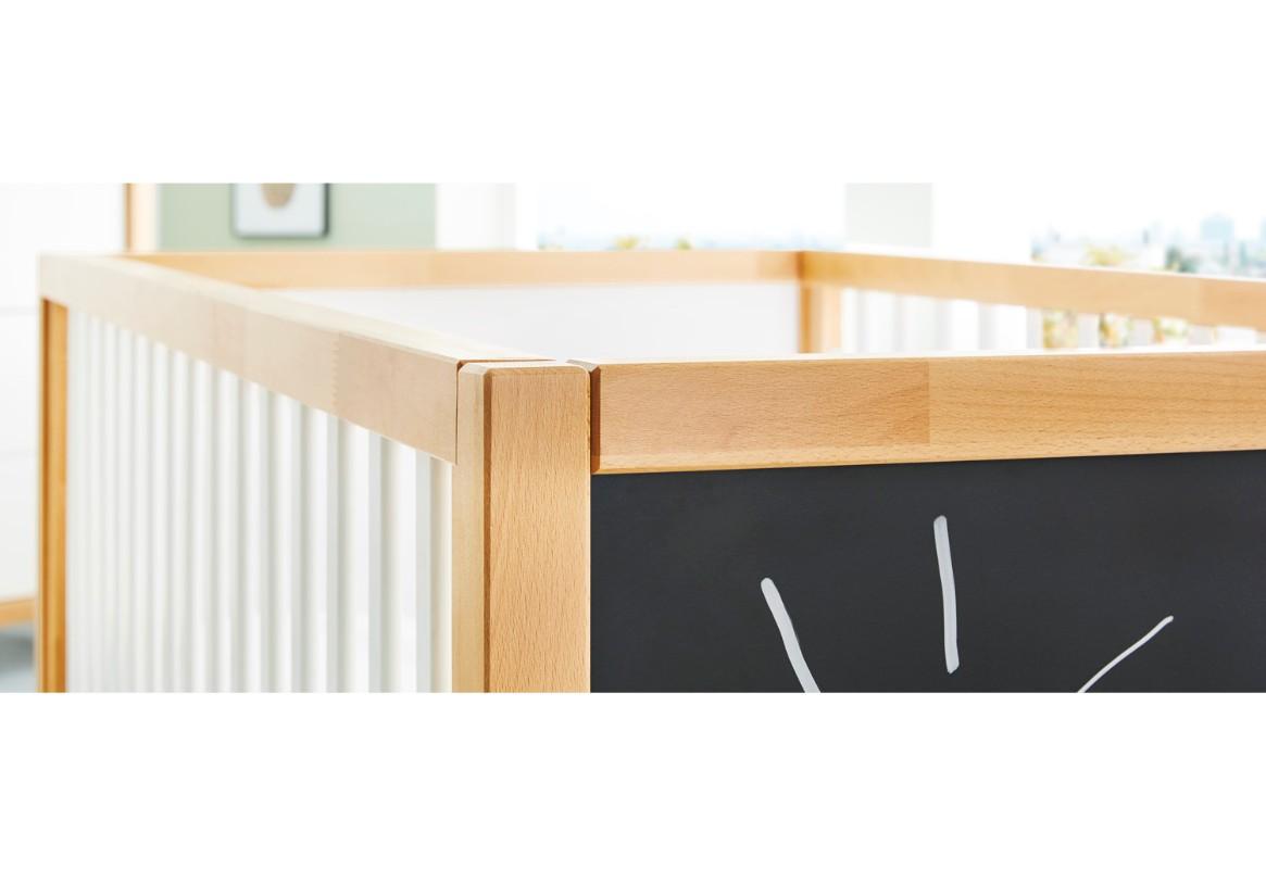 Lit bébé evolutif 70 x 140 cm Calimero avec Tableau noir Pinolino bois BamBinou