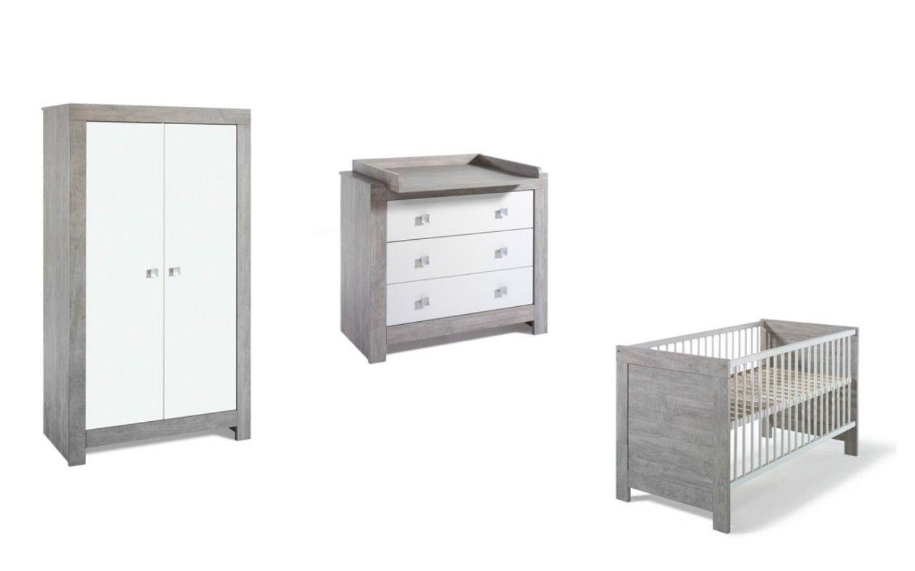 Chambre Nordic Driftwood : lit kit-transfo commode armoire 2 portes Schardt BamBinou