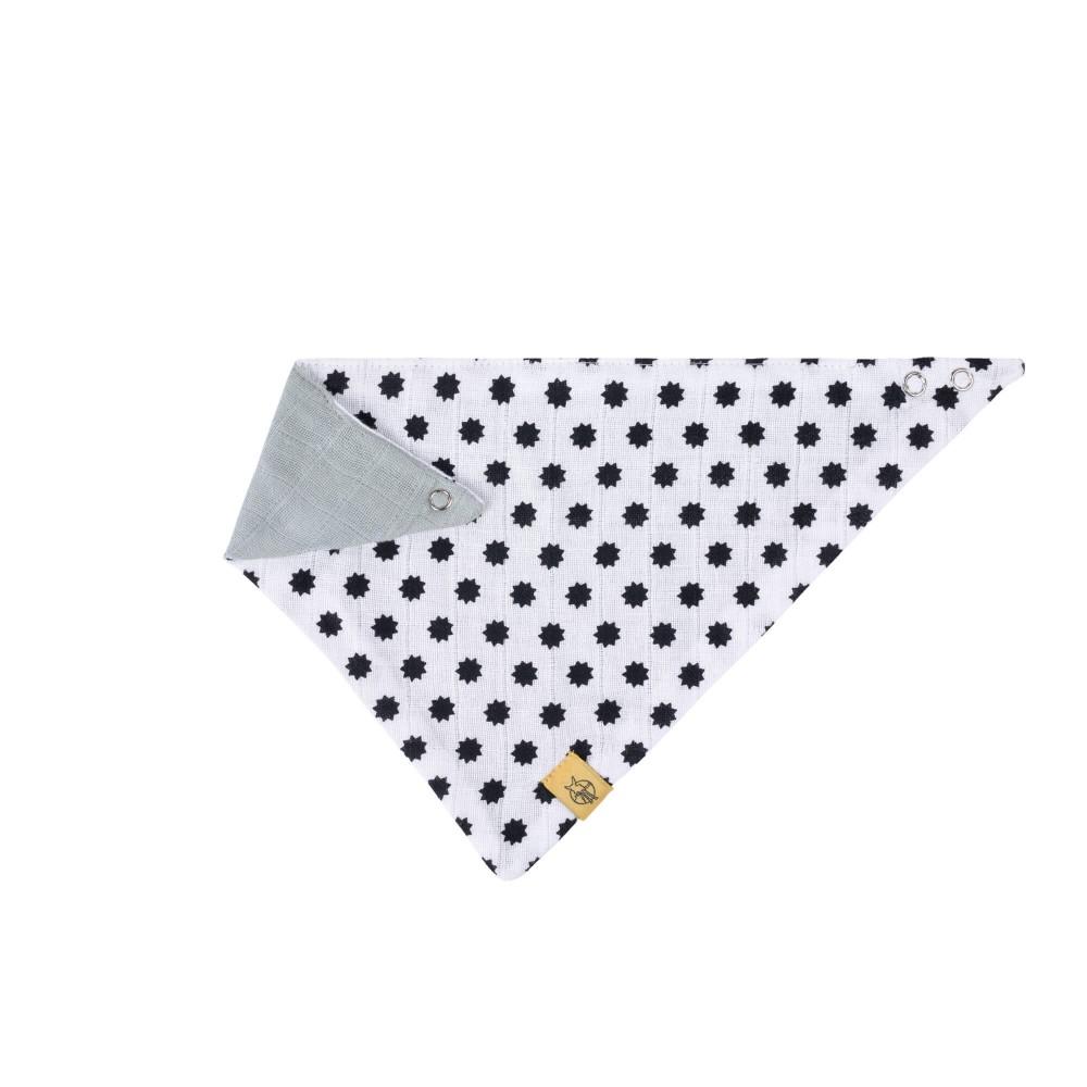 Bavoir bandana mousseline coton Little Chums étoiles Blanc réversible Lassig-Bambinou