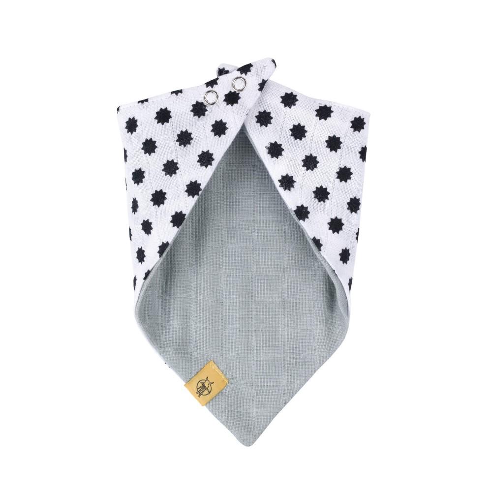 Bavoir bandana mousseline coton Little Chums étoiles Blanc dos Lassig-Bambinou