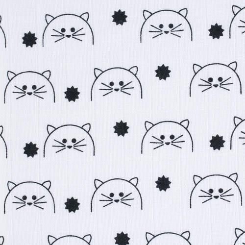 Lot de 2 langes mousseline Little Chums Chat XL 120 x 120 cm motifs chats Lassig-Bambinou