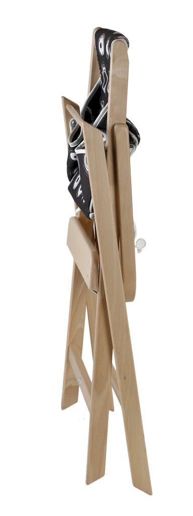 Chaise haute Traveller pliable naturel avec coussin rond marron