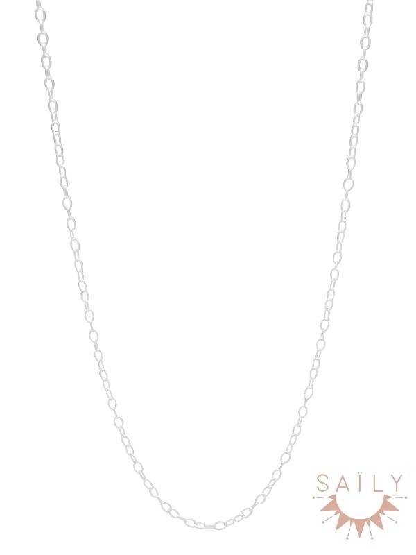 Sautoir plaque argent chaine simple Saily