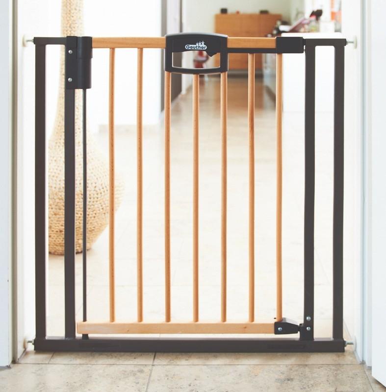 Barrière de sécurité Easylock Wood plus 68 - 76 cm naturel sans percer Geuther Bambinou