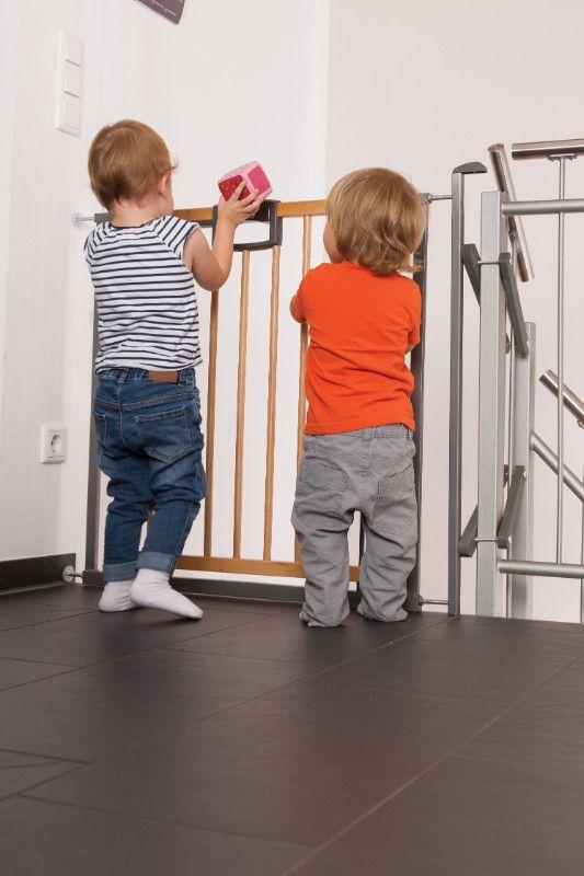 Barrière de sécurité Escalier Easylock Wood plus 84,5 - 92,5 cm naturel sans percer enfants Geuther Bambinou