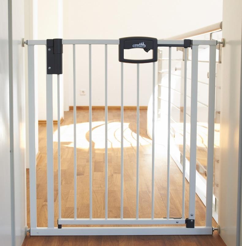 Barrière de sécurité Easylock plus 80,5 - 88,5 cm métal blanc sans percer Geuther Bambinou