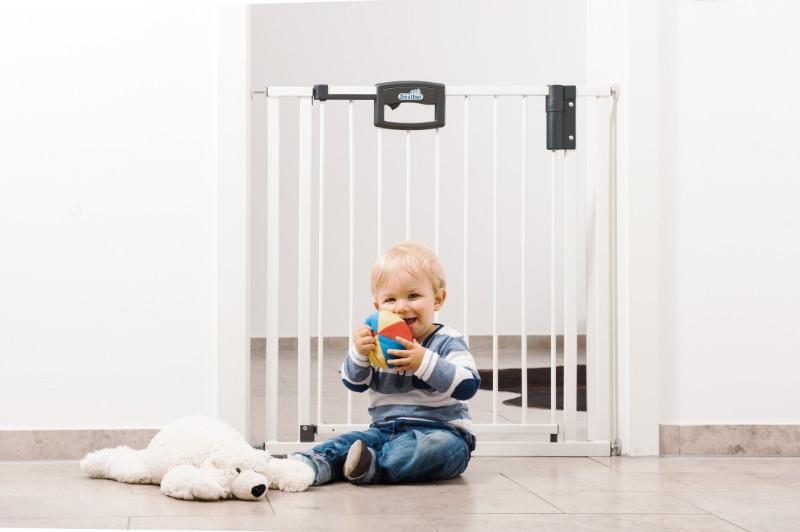 Barrière de sécurité Easylock plus 80,5 - 88,5 cm métal blanc sans percer enfant Geuther Bambinou