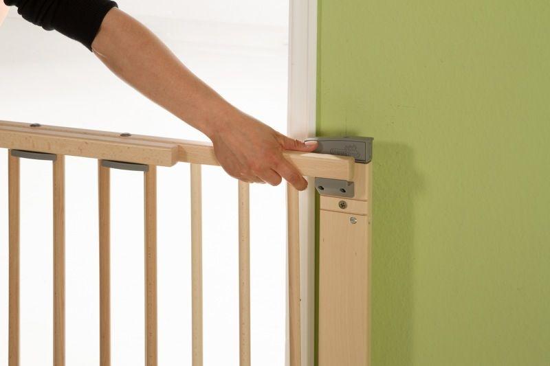 Barrière de sécurité plus pour porte 86-121 cm 93,5-133 cm en bois naturel ouverture Geuther Bambinou