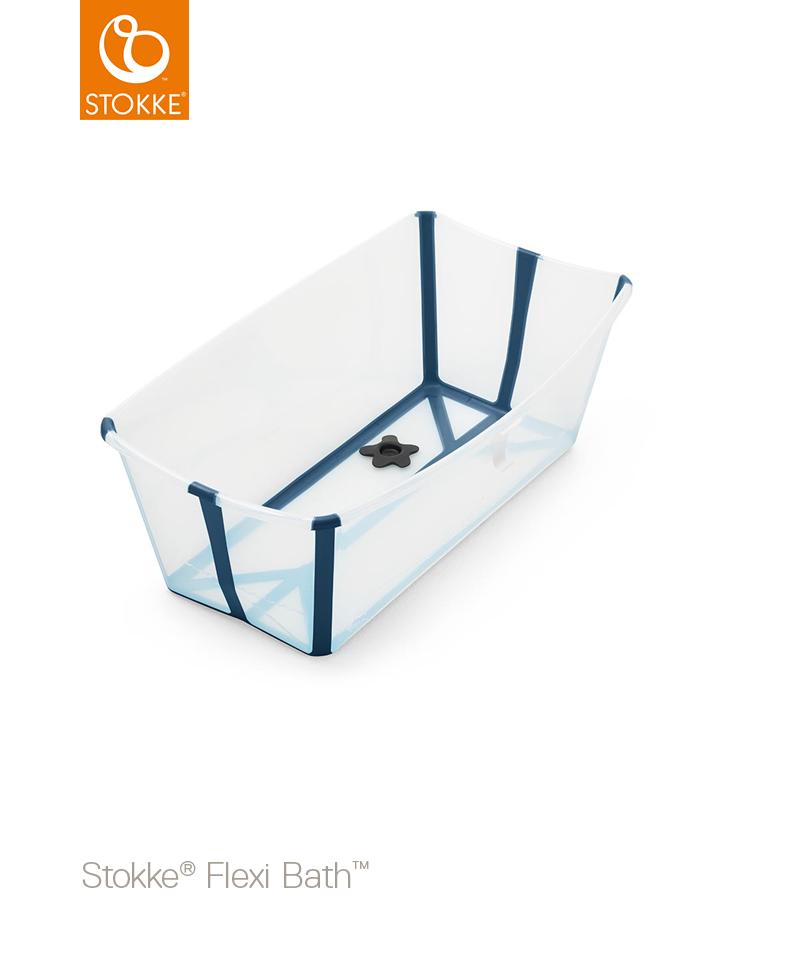 531904 Baignoire pliante Flexi bath transparent bleu Produit Stokke Bambinou