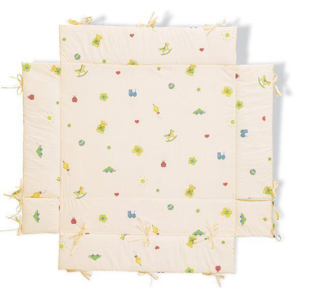 Parc bébé pliant en hêtre naturel Toni avec tapis de sol Vanille BamBinou.com