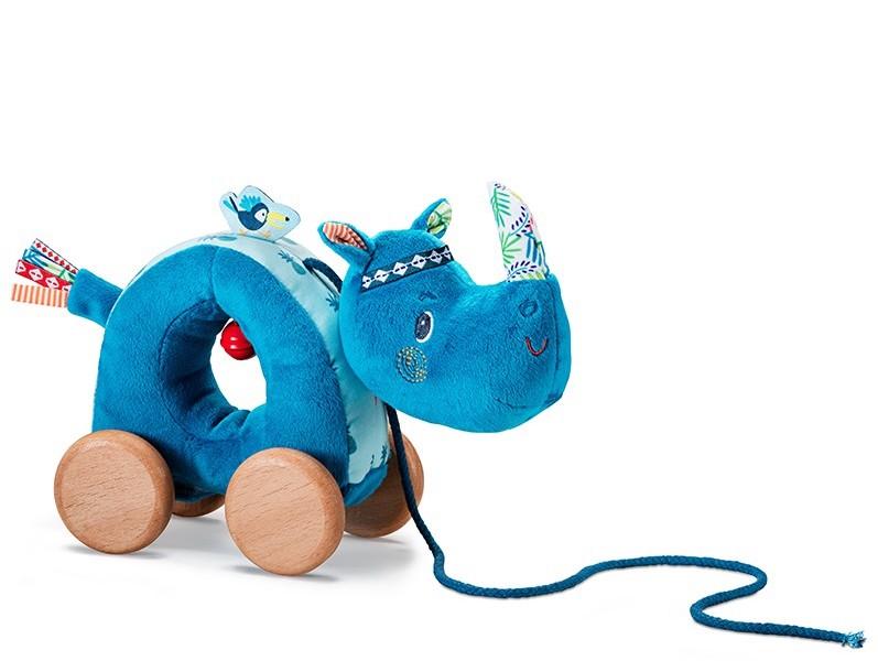 Peluche a tirer Marius le rhinoceros Produit Lilliputiens Bambinou