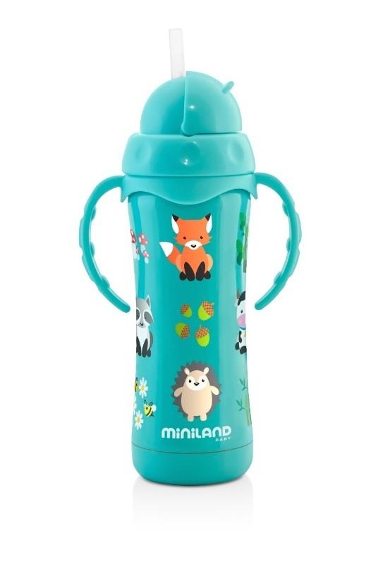 Thermos 240 ml thermokid aqua ouvert Miniland Bambinou