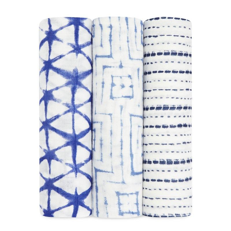Lot de 3 maxi langes silky soft indigo 120 x120 cm Aden et Anais Bambinou