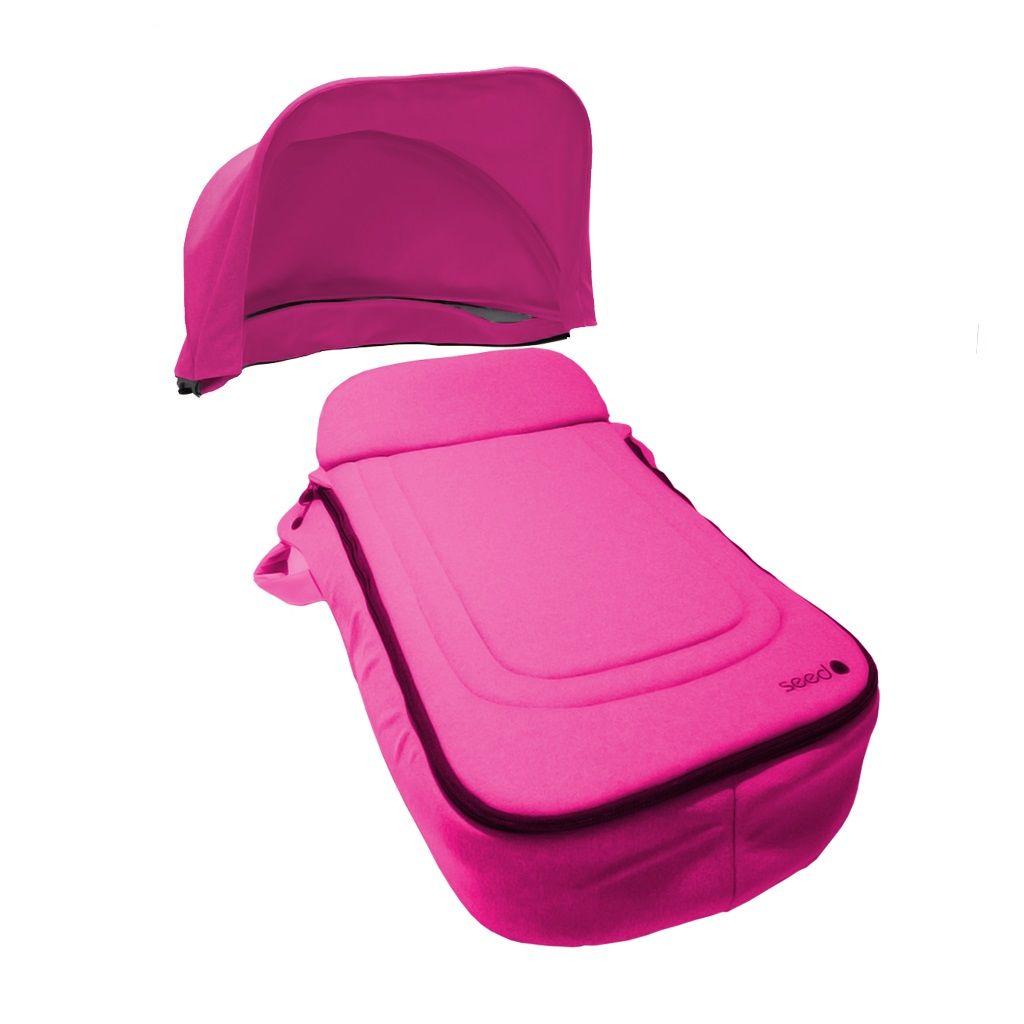 tablier poussette + canopy rose_seed_bambinou