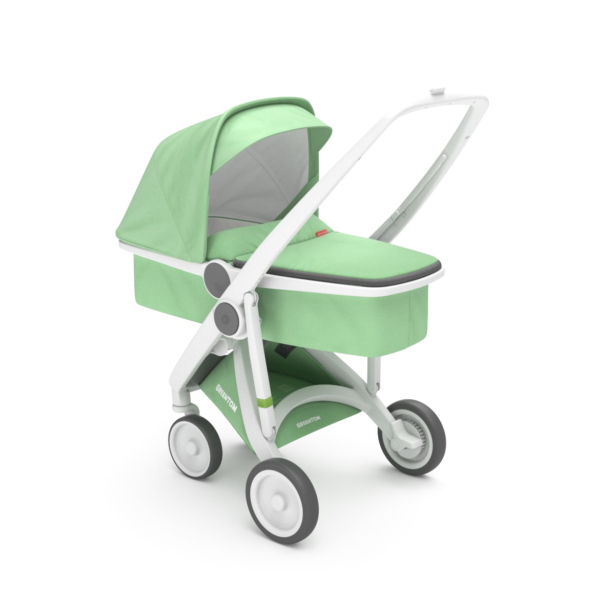 Poussette Upp Carrycot : Chassis blanc, Kit Nacelle menthe Greentom BamBinou