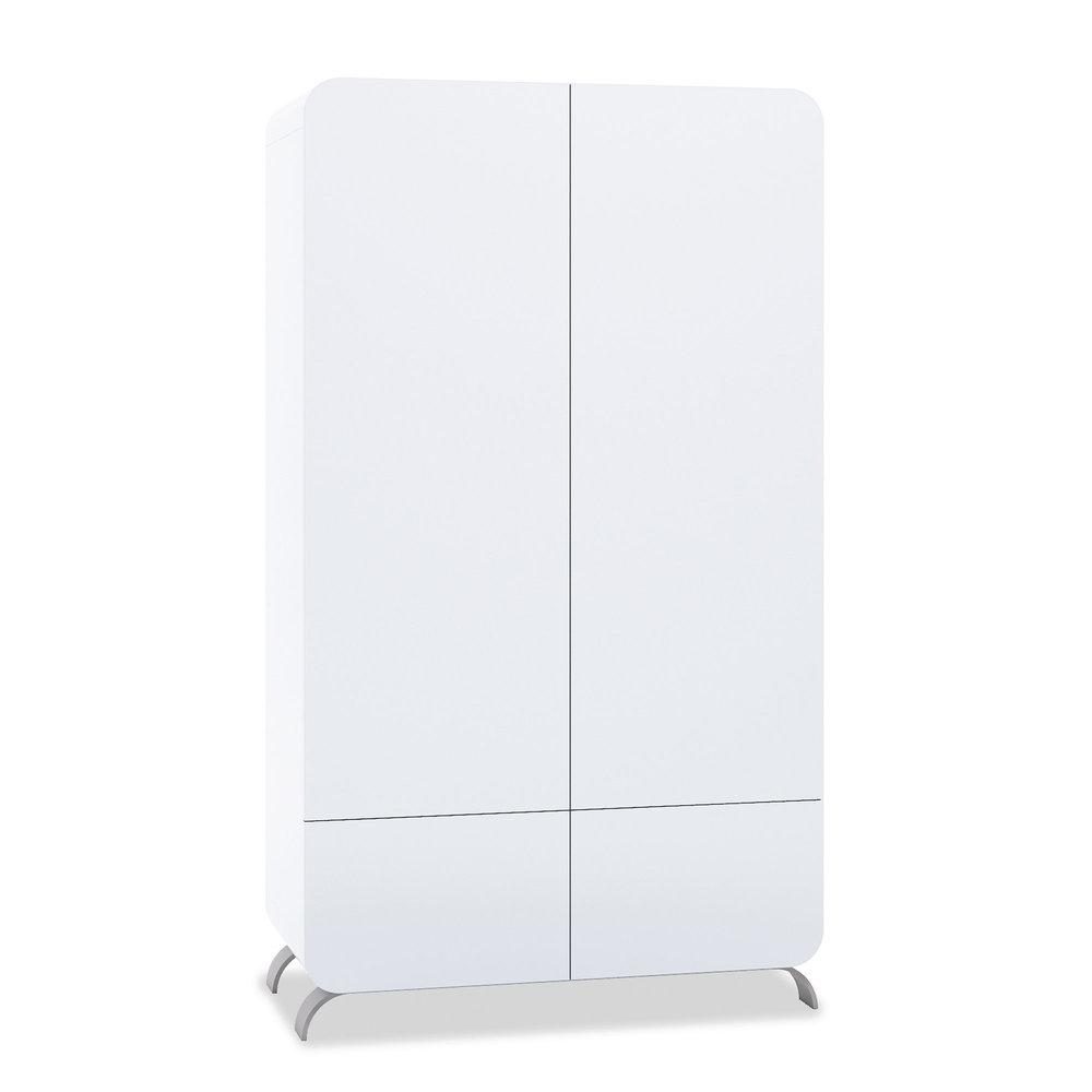 Armoire 2 portes 2 tiroirs Premium Kurve White Alondra