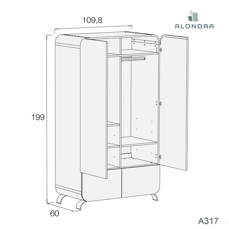 Armoire 2 portes 2 tiroirs Premium Kurve White Alondra dimensions