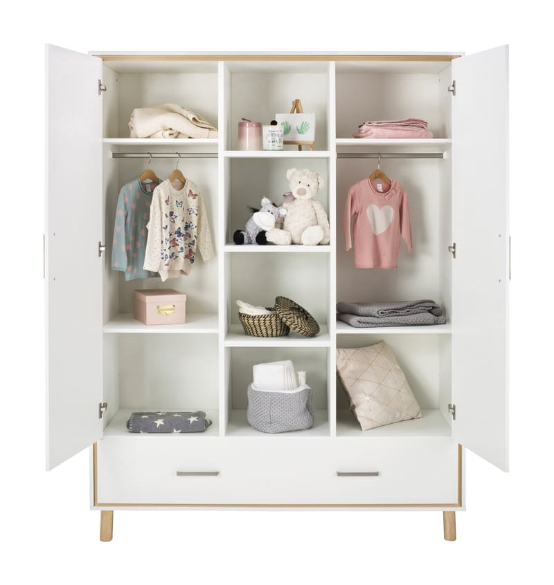 Chambre Coco Blanc Lit Kit-Transfo Commode Armoire 2 portes Schardt 10