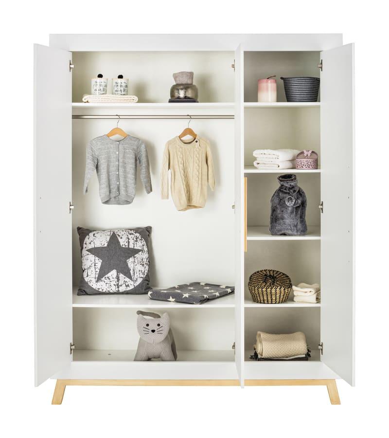 Chambre Miami Blanc Lit Kit-Transfo Commode Armoire 3 portes Schardt 10