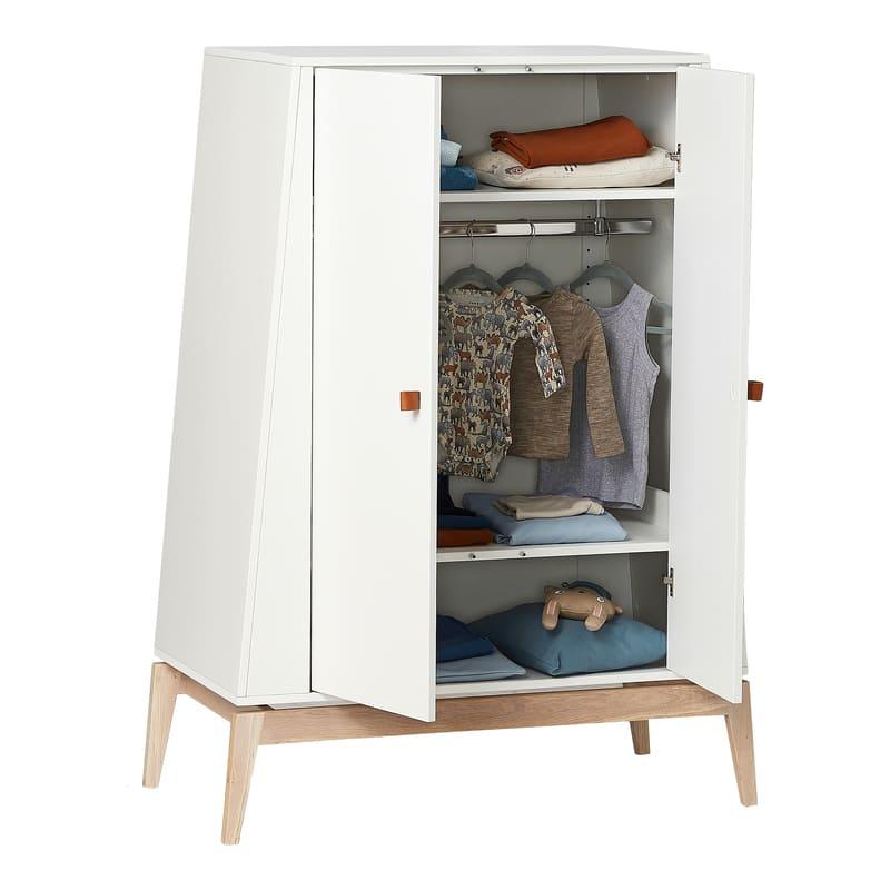 Chambre Luna Blanc : lit, commode, armoire Leander Armoire ouvert