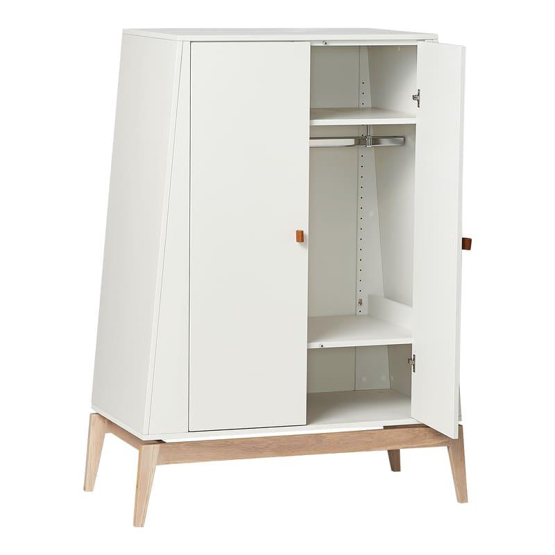 Chambre Luna Blanc : lit, commode, armoire Leander Étagères