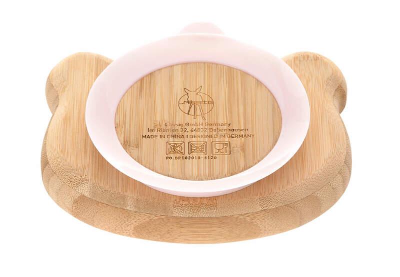 Assiette en bois de bambou Little Chums Souris Lassig Arrière