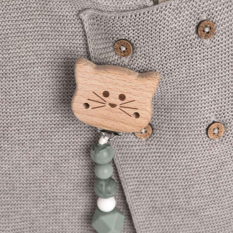 Attache-sucette en bois et silicone Little Chums Chat Lassig Ambiance