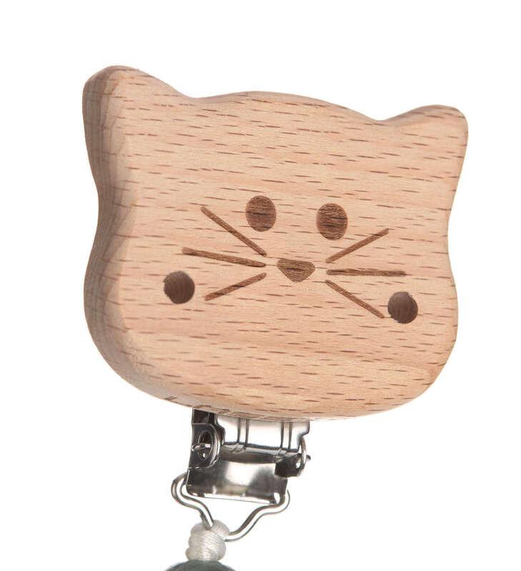 Attache-sucette en bois et silicone Little Chums Chat Lassig Détail