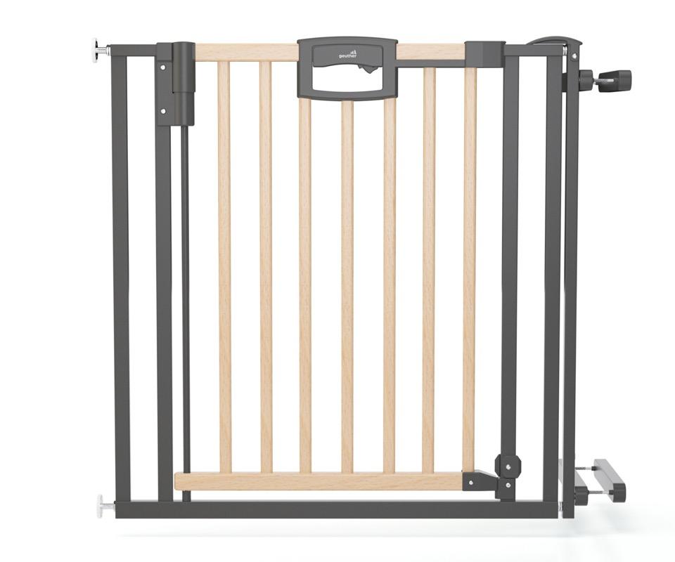 Barrière de sécurité Escalier Easylock Wood plus 84,5 - 92,5 cm naturel sans percer Geuther Bambinou