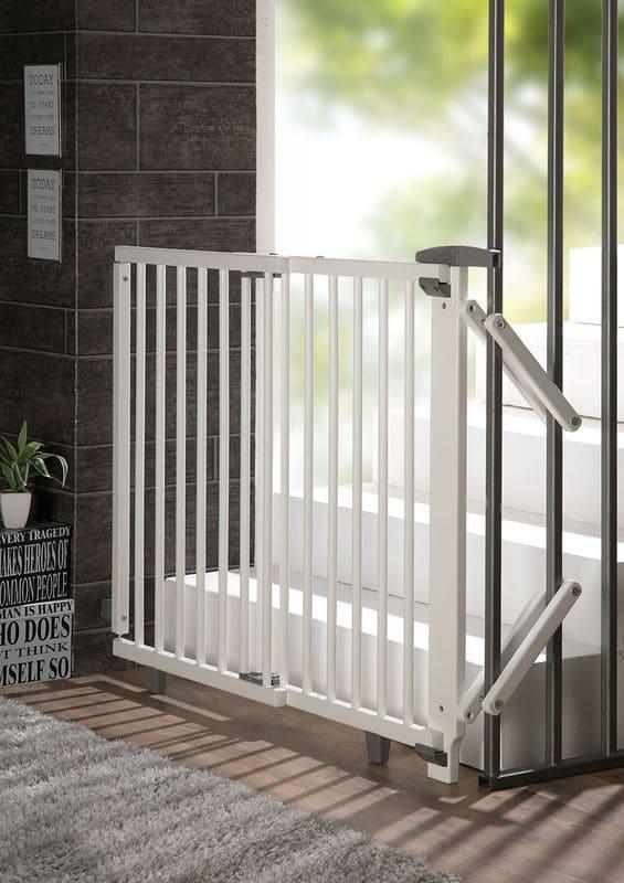 Barrière de sécurité plus pour escalier 67-107 cm en bois Geuther Porte