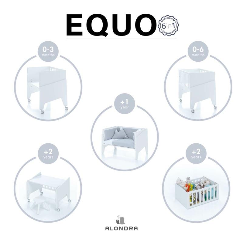 Berceau cododo évolutif Equo avec matelas et set textile Alondra évolution