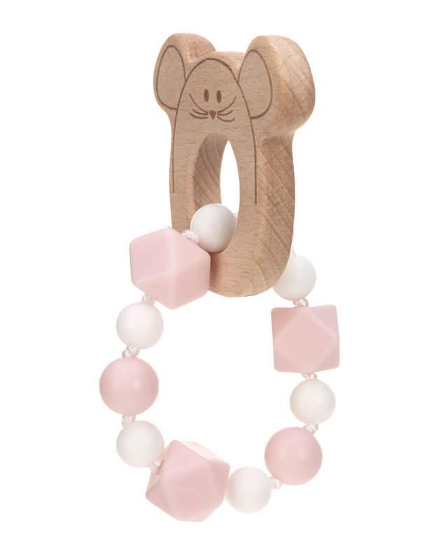 Bracelet de dentition en bois et silicone Little Chums Souris Lassig Arrière