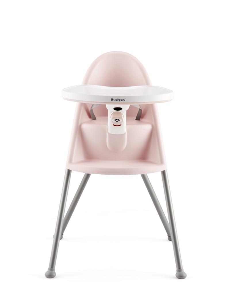 Chaise Haute Babybjorn rose poudré avec harnais 3 points