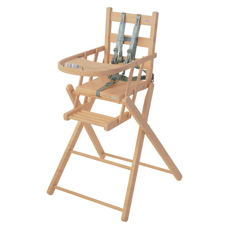 Chaise haute Sarah extra-pliante naturel vernis Combelle