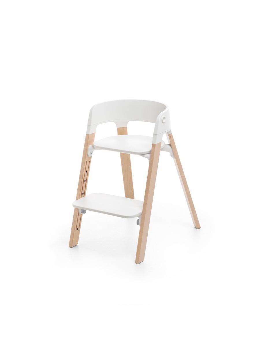 Chaise haute Steps pieds en bois de hêtre naturel / blanc Stokke repose-pieds bas