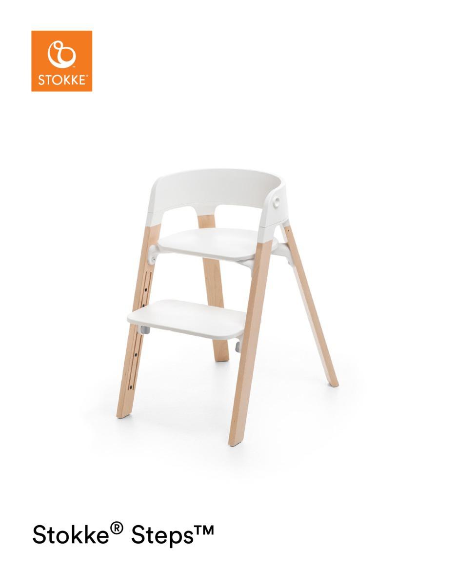 Chaise haute Steps pieds en bois de hêtre naturel / blanc Stokke