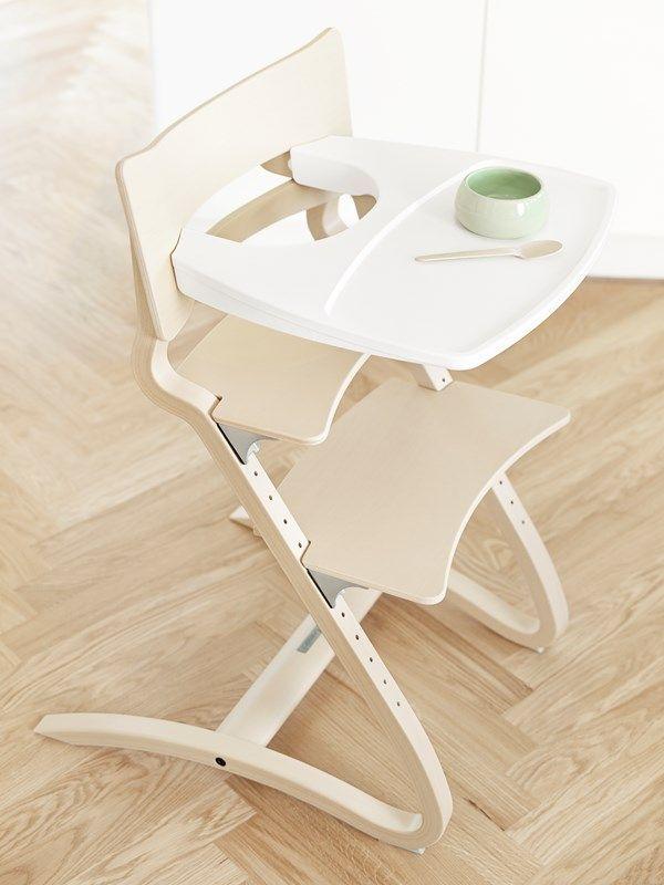 Tablette chaise haute Leander blanche sur chaise