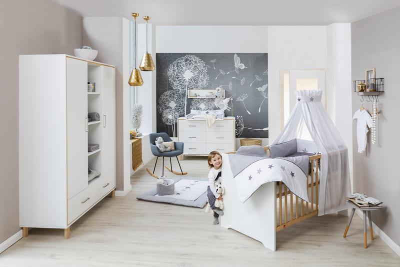 Chambre Coco Blanc Lit Kit-Transfo Commode Armoire 2 portes Schardt 2