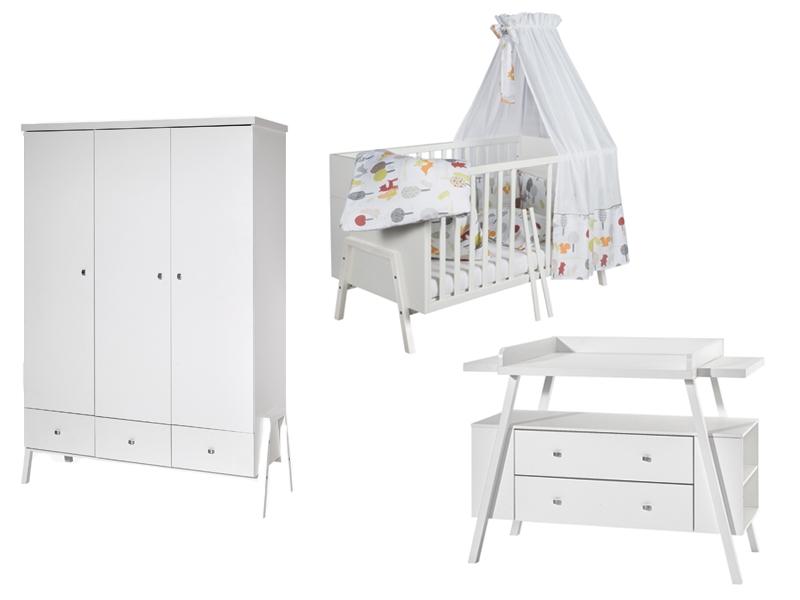 Chambre HOLLY BLANC lit kit-transfo commode armoire SCHARDT