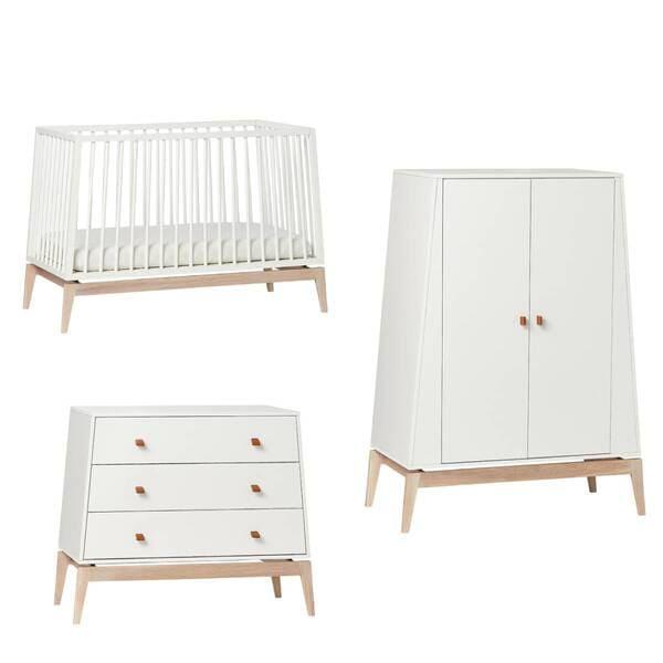 Chambre Luna Blanc : lit, commode, armoire Leander Produit