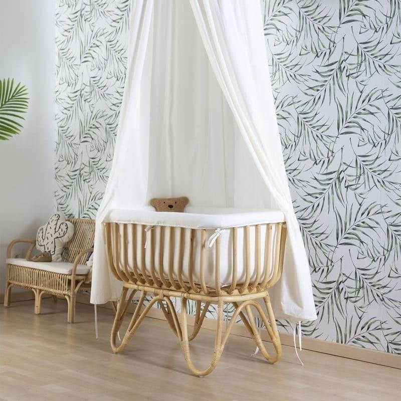 Ciel de lit enfant et tapis de jeu jersey 120x120 cm écru Childhome nounours